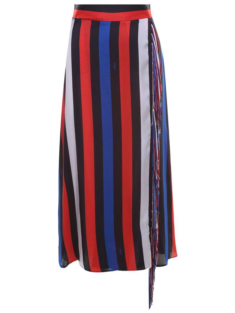MSGM Fringe-trim Striped-satin Skirt - Multicolor