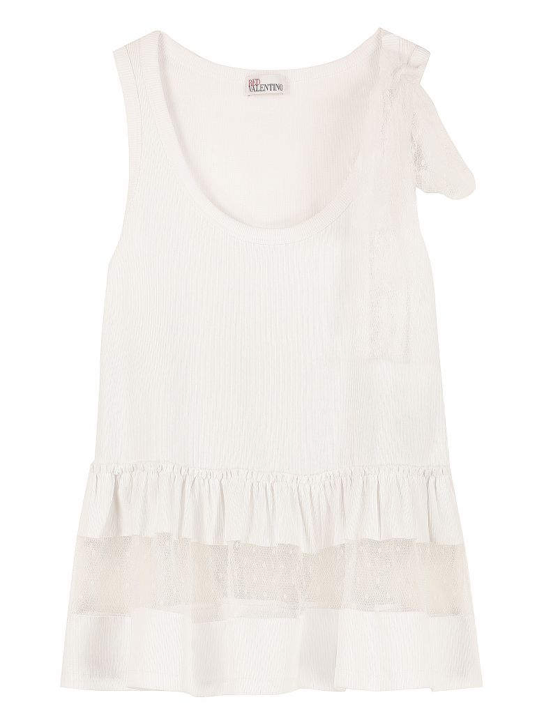 RED Valentino Tulle Details Cotton Top - White