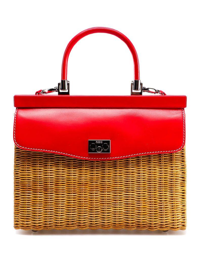 Rodo Medium Weaved Tote - Miele/rosso