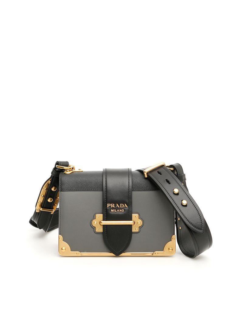 Prada Bicolor Cahier Bag - MERCURIO+N (Black)