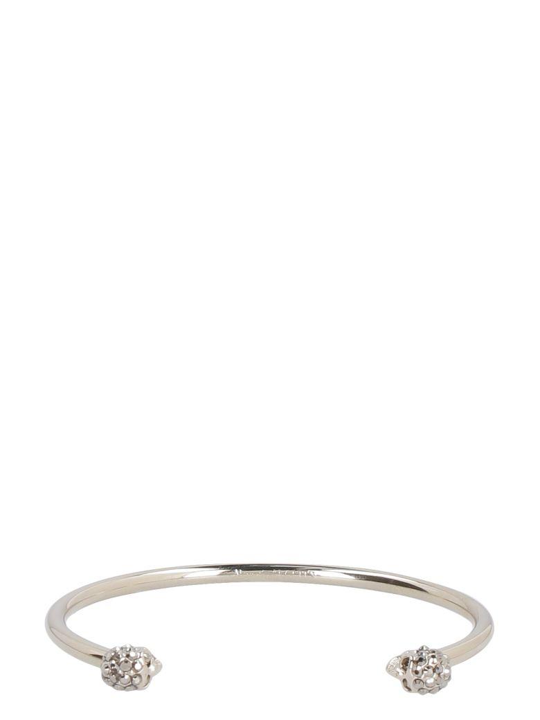 Alexander McQueen Twin Skull Brass Bracelet - silver