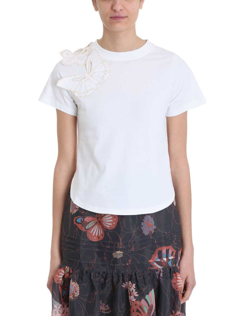 See by Chloé Butterfly Embroidered T-shirt - white