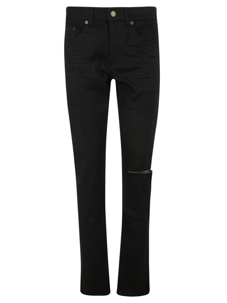 Saint Laurent Woven Ripped Detail Jeans - Used black
