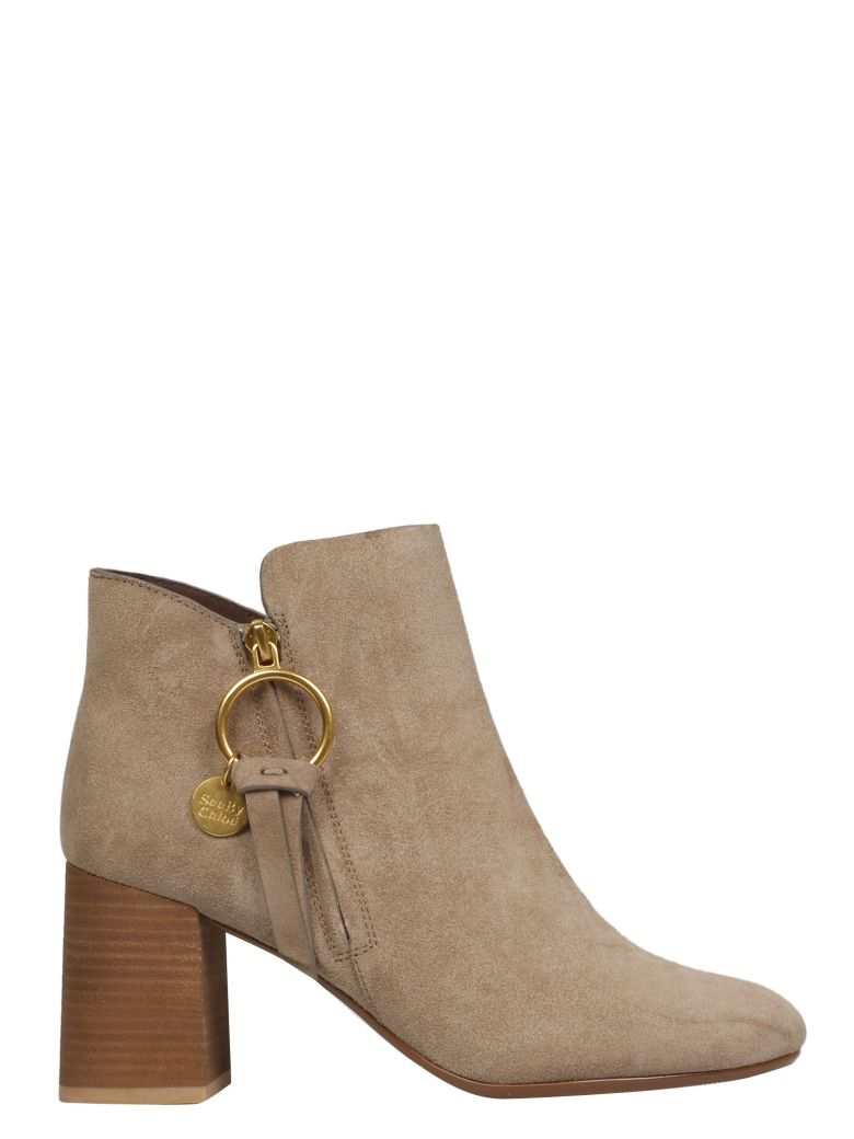 See by Chloé Ring Ankle Boots - Taupe