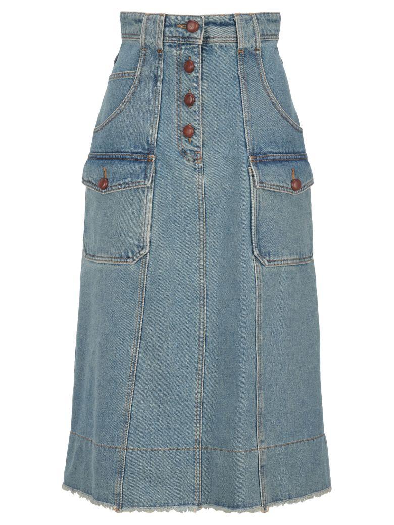 Philosophy di Lorenzo Serafini Philosophy Midi Denim Skirt - BLUE