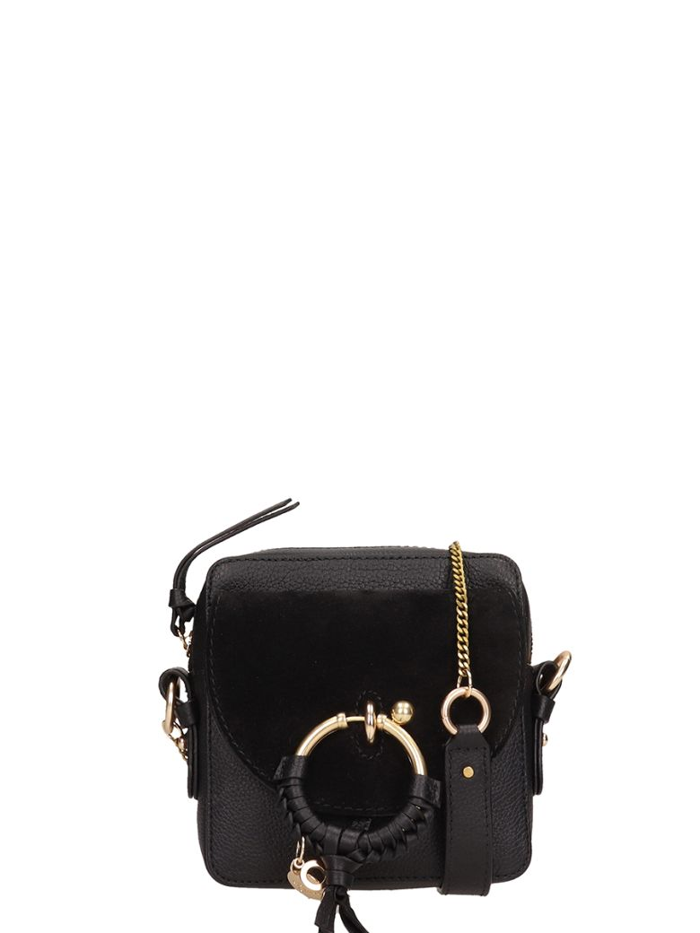 See by Chloé Black Leather Joan Mini Bag In Suede - black