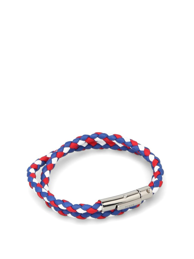 Tod's Mycolors Bracelet In Leather - Blue red white
