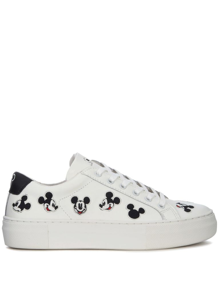 M.O.A. master of arts Moa Mickey Mouse White Leather Sneakers - BIANCO