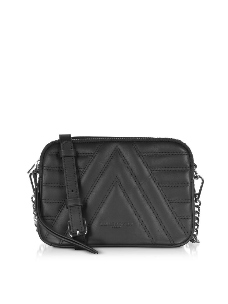 Lancaster Paris Parisienne Matelassé Quilted Leather Shoulder/belt Bag - Black