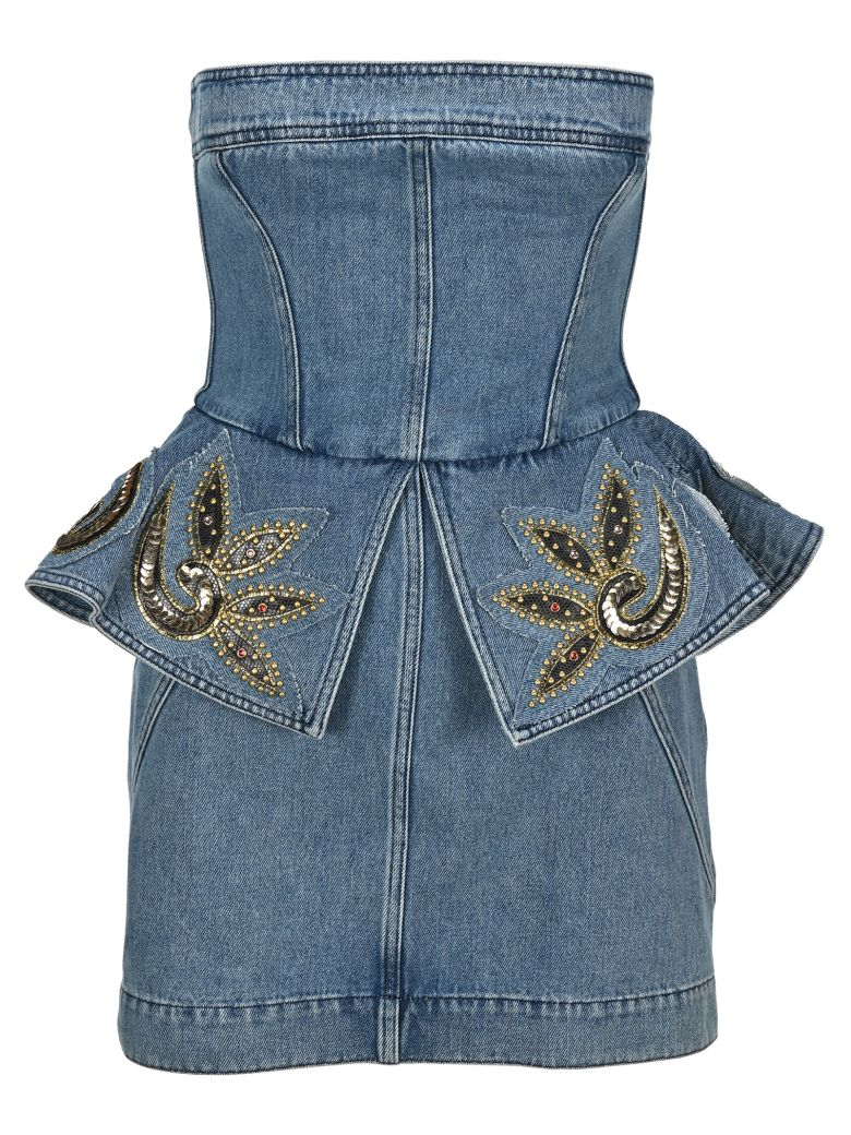 Philosophy di Lorenzo Serafini Philosophy Embellished Bustier Denim Mini Dress - LIGHT BLUE