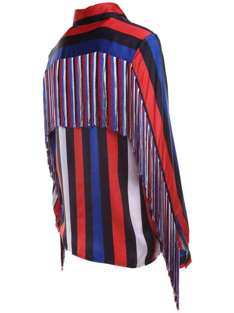 MSGM Fringe-trim Striped-satin Shirt - Multicolor