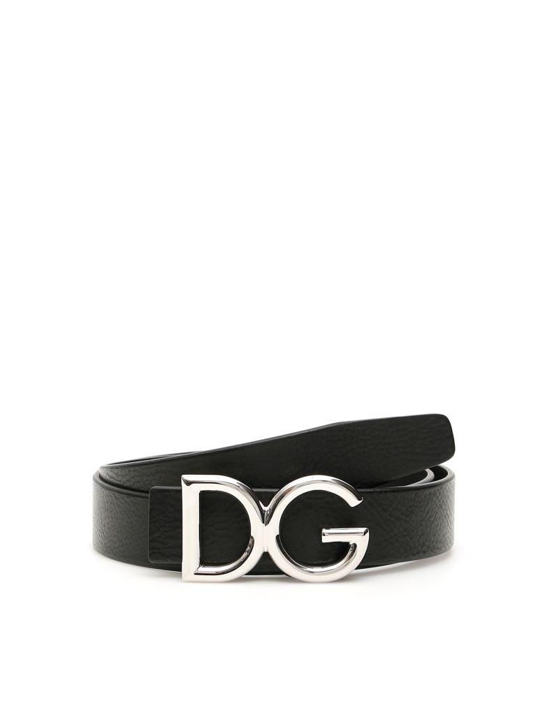 Dolce & Gabbana Dg Grain Leather Belt - NERO PALLADIO (Black)
