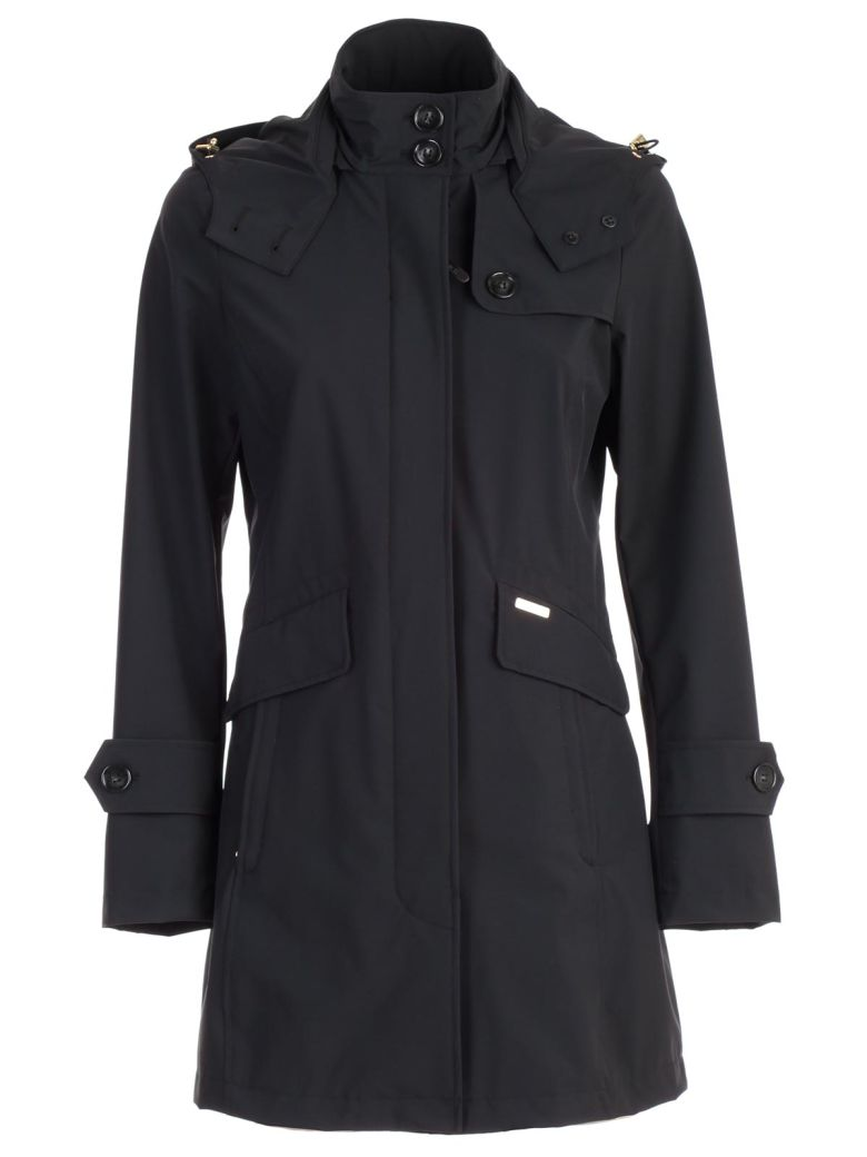 Woolrich Stretched Hooded Trench - Black