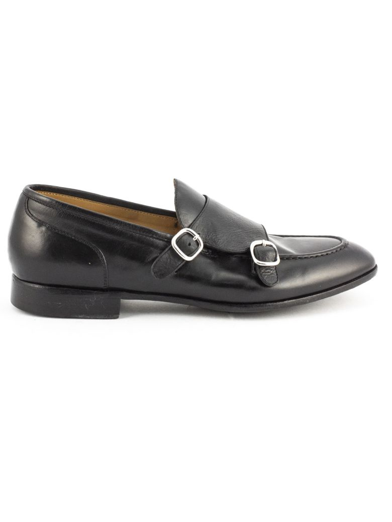 Green George Black Leather Loafer - Nero