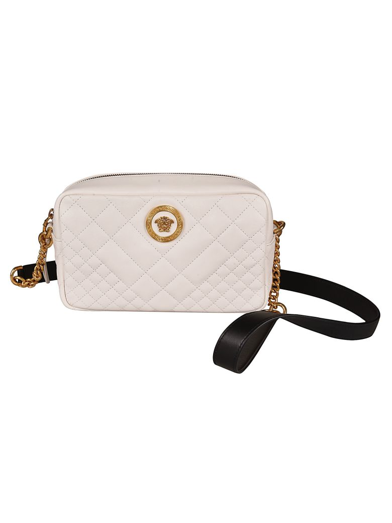 Versace Quilted Shoulder Bag - White