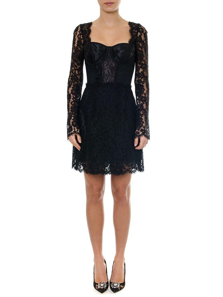 Dolce & Gabbana Black Cordonetto Lace & Satin Dress - Black