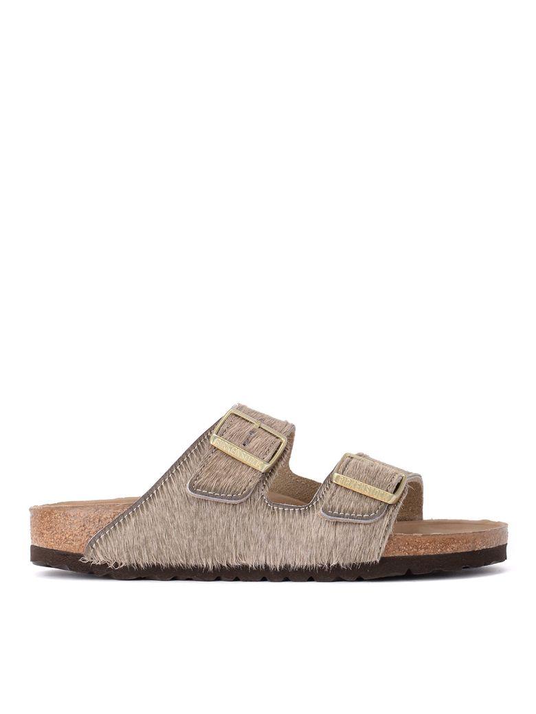Birkenstock Arizona Grey Cowhair Sandal - Premium - Gray