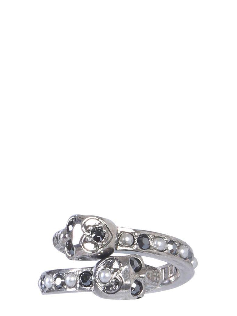Alexander McQueen Twin Skull Ring - GRIGIO