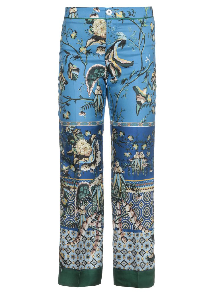 For Restless Sleepers Silk Printed Trousers - f.do azzurro