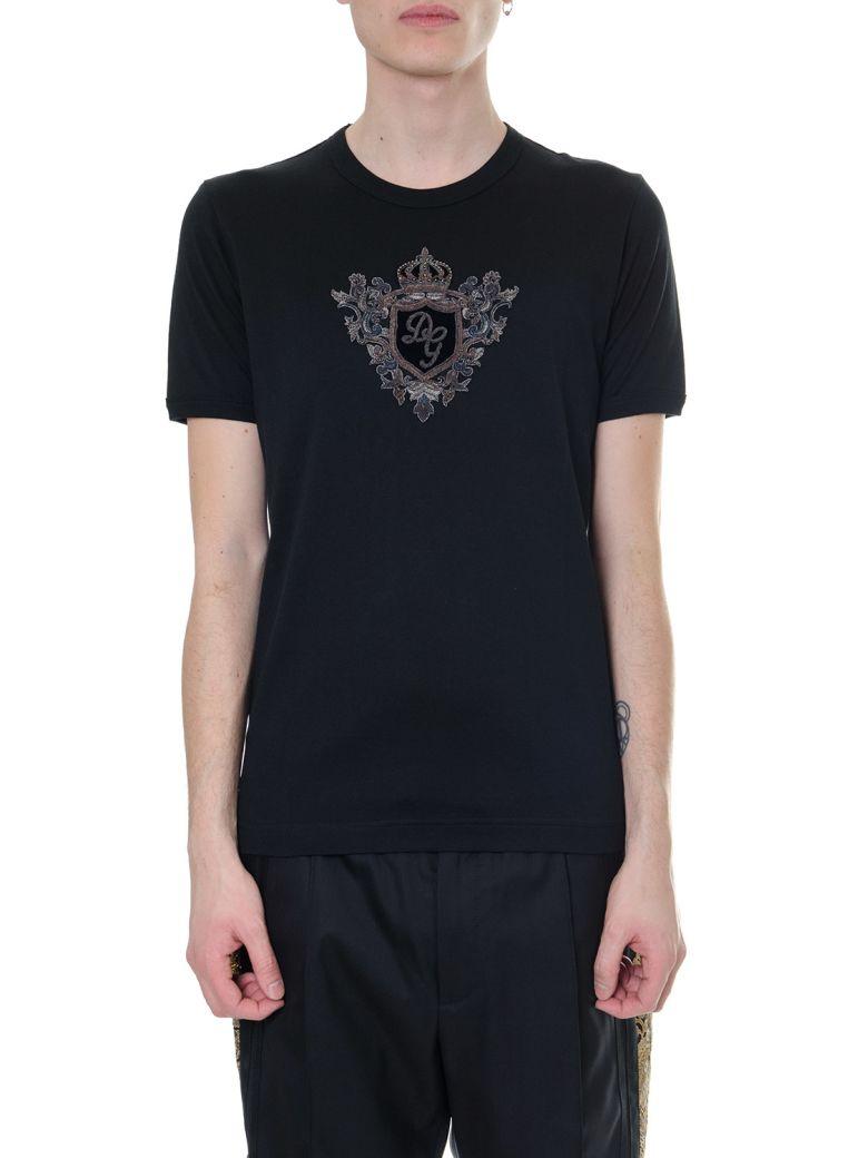 Dolce & Gabbana Black Cotton Logo Crest T-shirt - Black