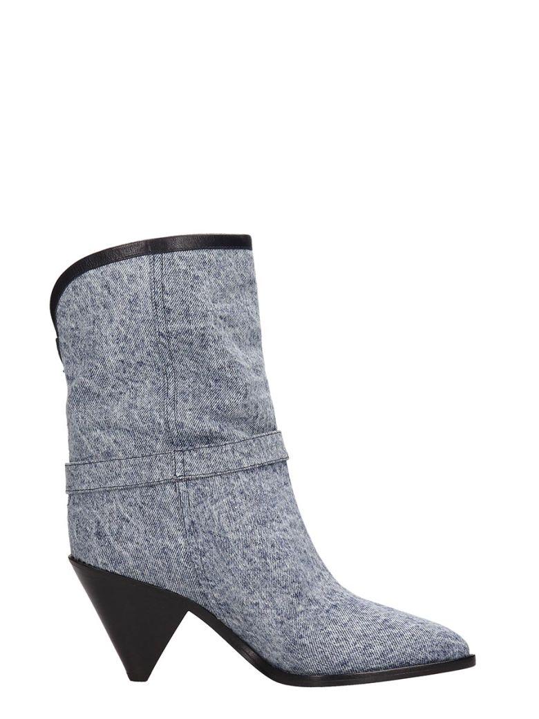 Isabel Marant Luam Blue Denim Wash Ankle Boots - blue