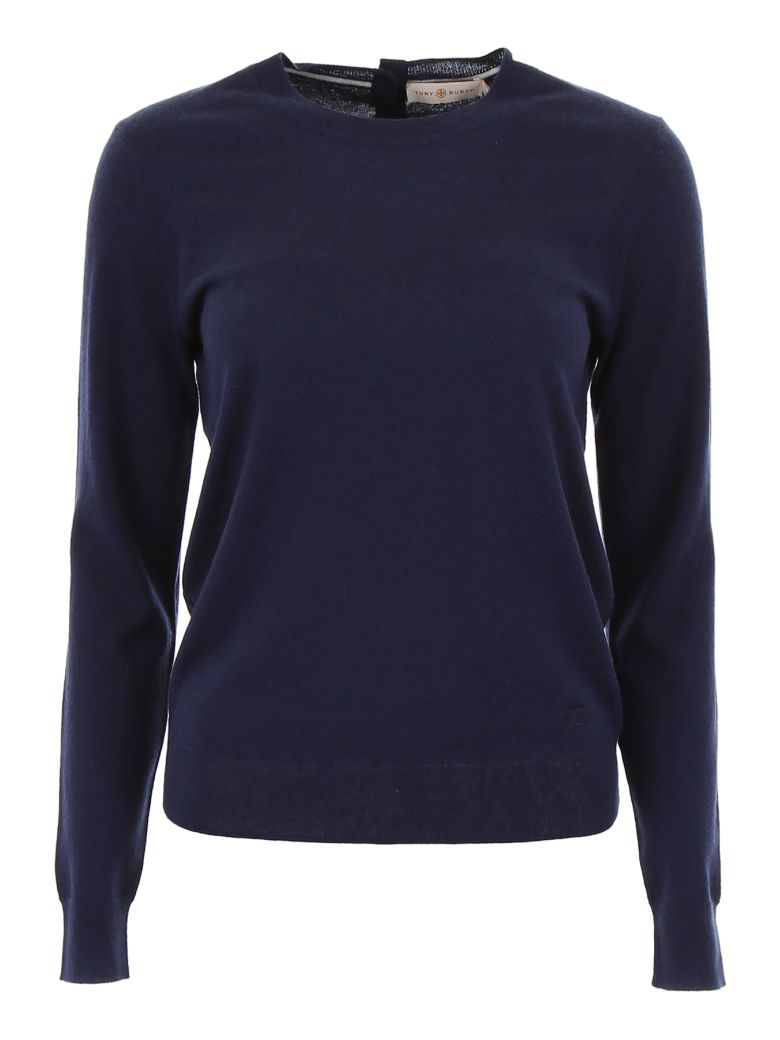 Tory Burch Cashmere Pull With Buttons - MEDIUM NAVY (Blue)