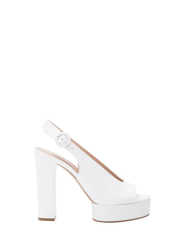Casadei Slingback Sandals With Open Toe - Bianco