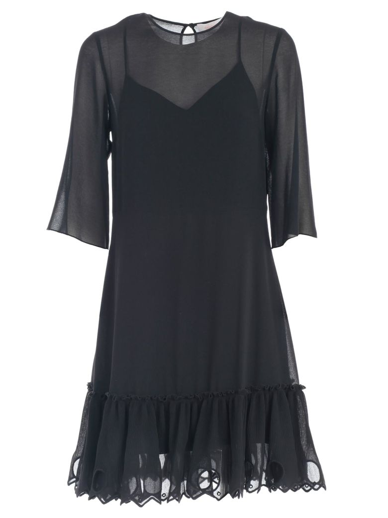 See by Chloé Dress 3/4s Bottom Rouches - Black