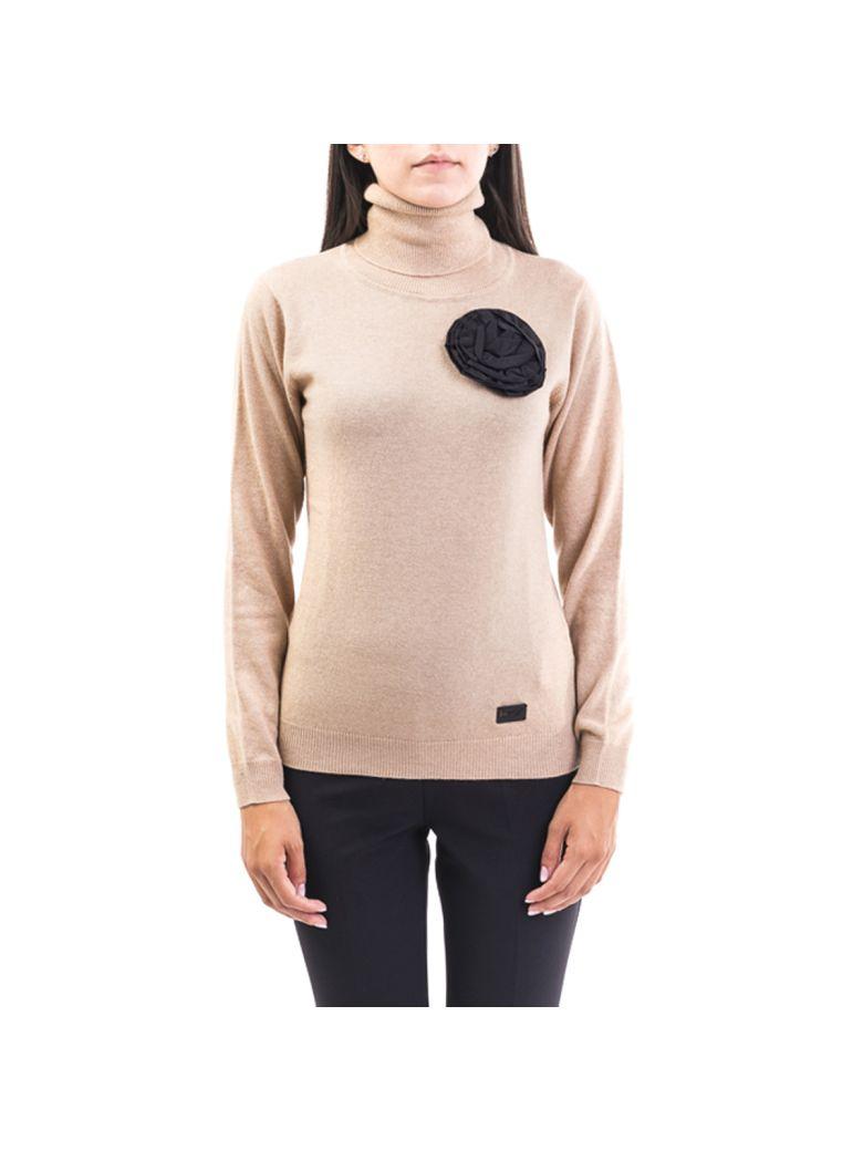 Be Blumarine Wool Blend Sweater - CAMEL - BLACK