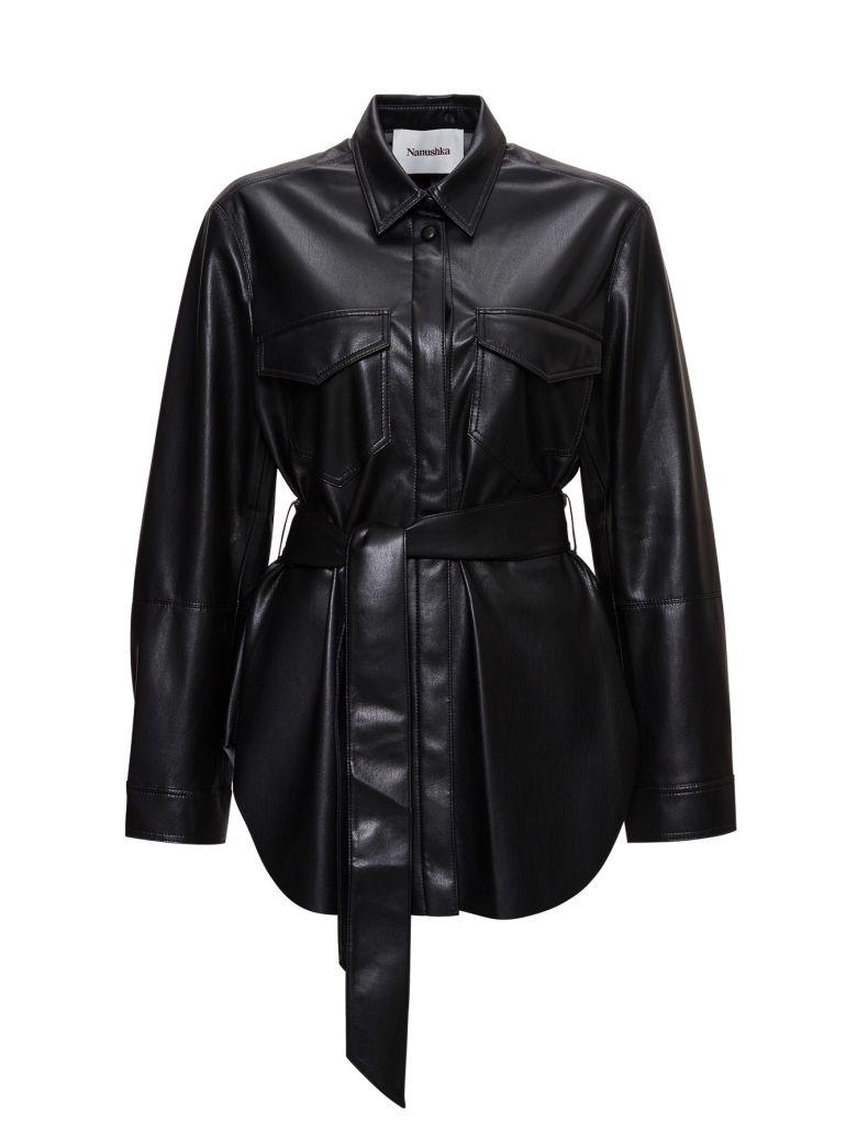 Nanushka Artha Belted Safari Shirt In Vegan Leather - Black