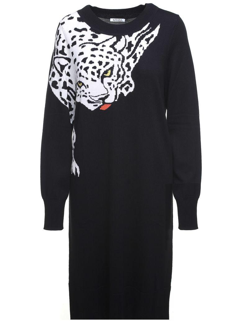Krizia Leopard-intarsia Wool-knit Dress - Nero