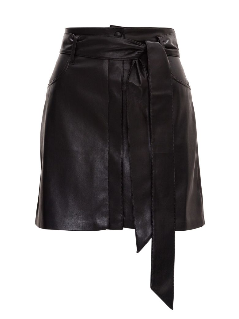 Nanushka Vegan Leather Belted Mini Skirt - Black