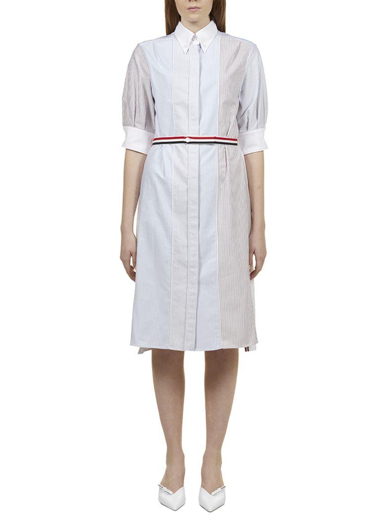 Thom Browne Striped Shirt Dress - Gray