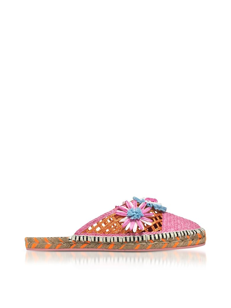 Sophia Webster Jute And Leather Tansy Espadrille Slippers - Pink