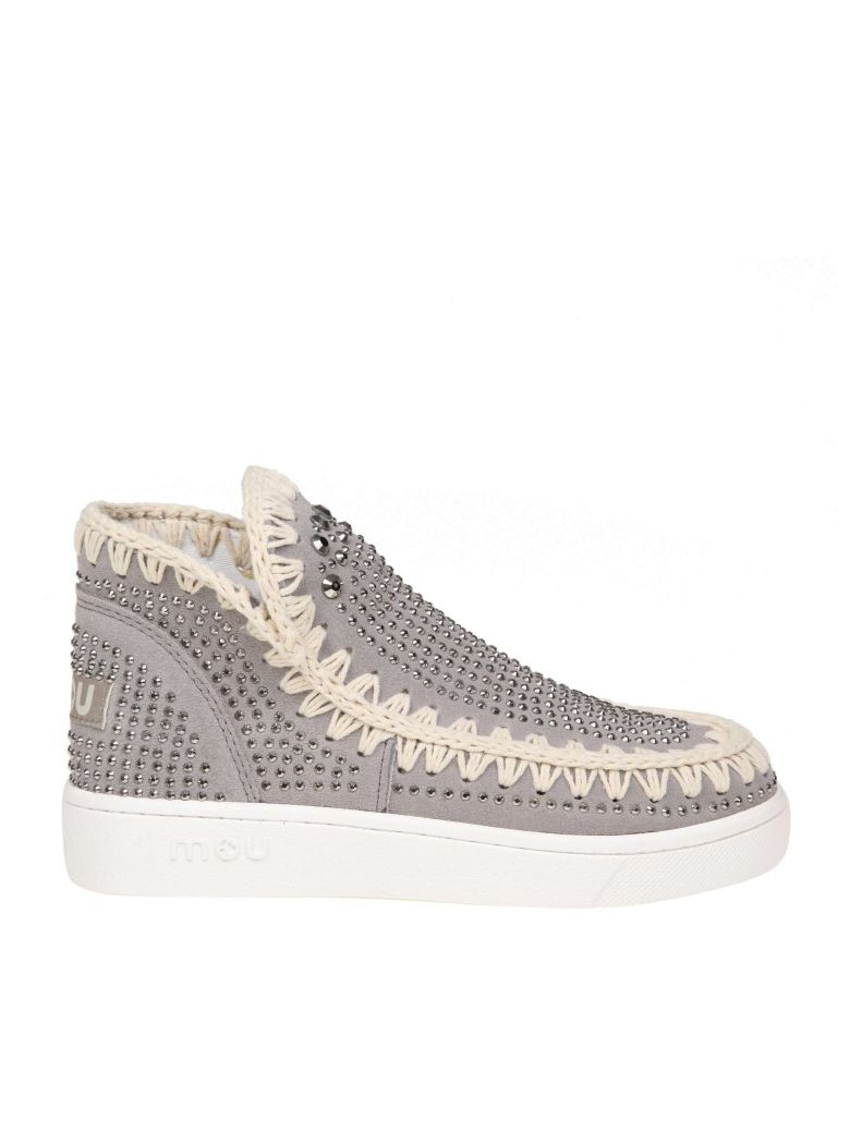 Mou Gray Sneakers In Suede Leather - Gray