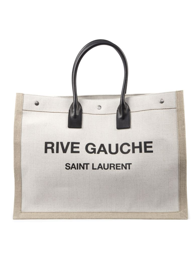 Saint Laurent Rive Gauche Canvas Tote Bag - White/black