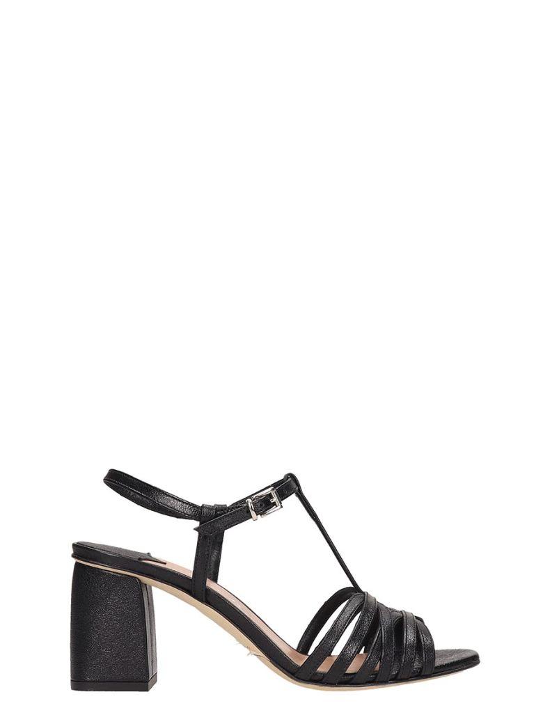 Julie Dee Black Leather Sandals - black