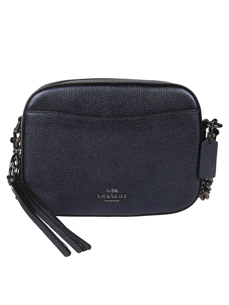 Coach Logo Plaque Shoulder Bag - blue