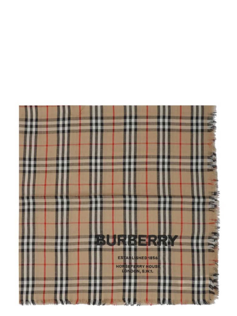 Burberry Embroidered Vintage Check Scarf - Basic