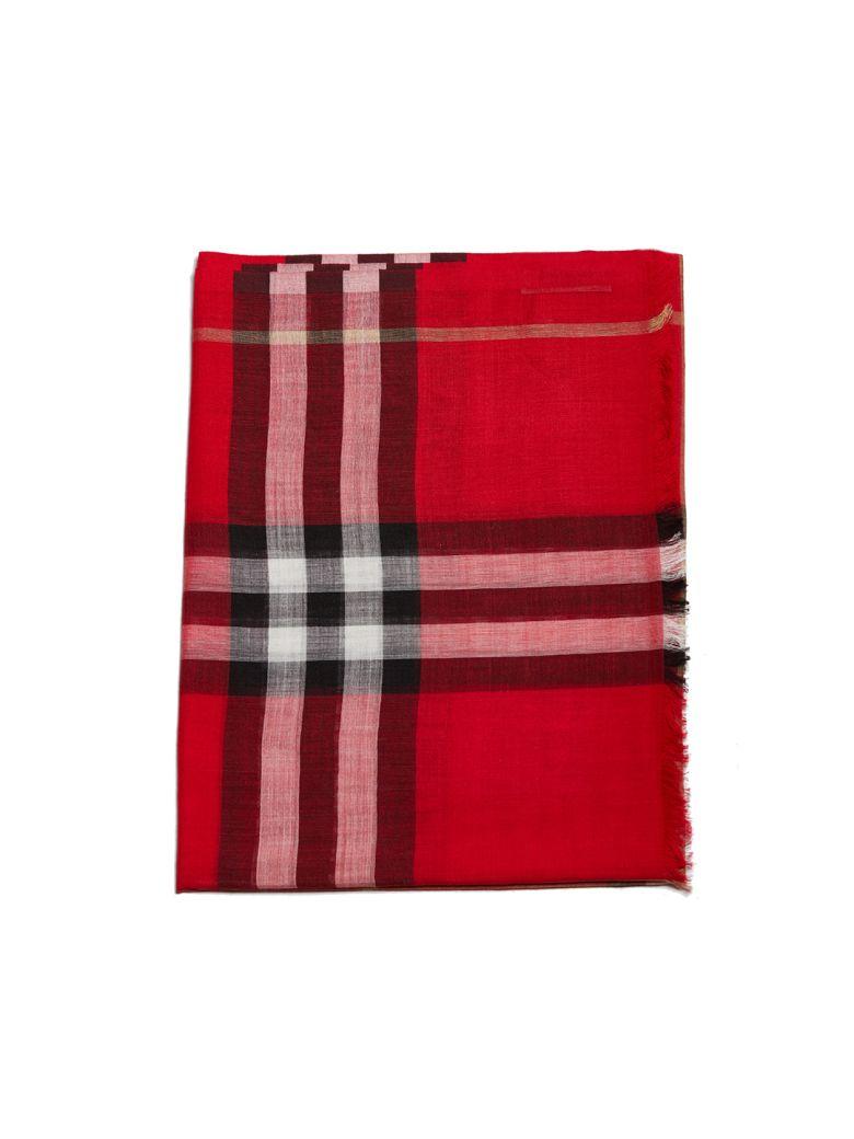 Burberry Checked Scarf - Rosso multicolor