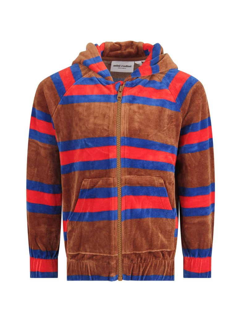 Mini Rodini Brown Sweatshirt For Boy With Colorful Stripes - Brown