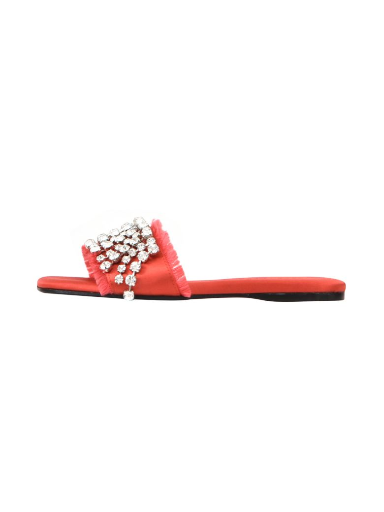 Anna Baiguera Ave Satin Pop Slides - Red