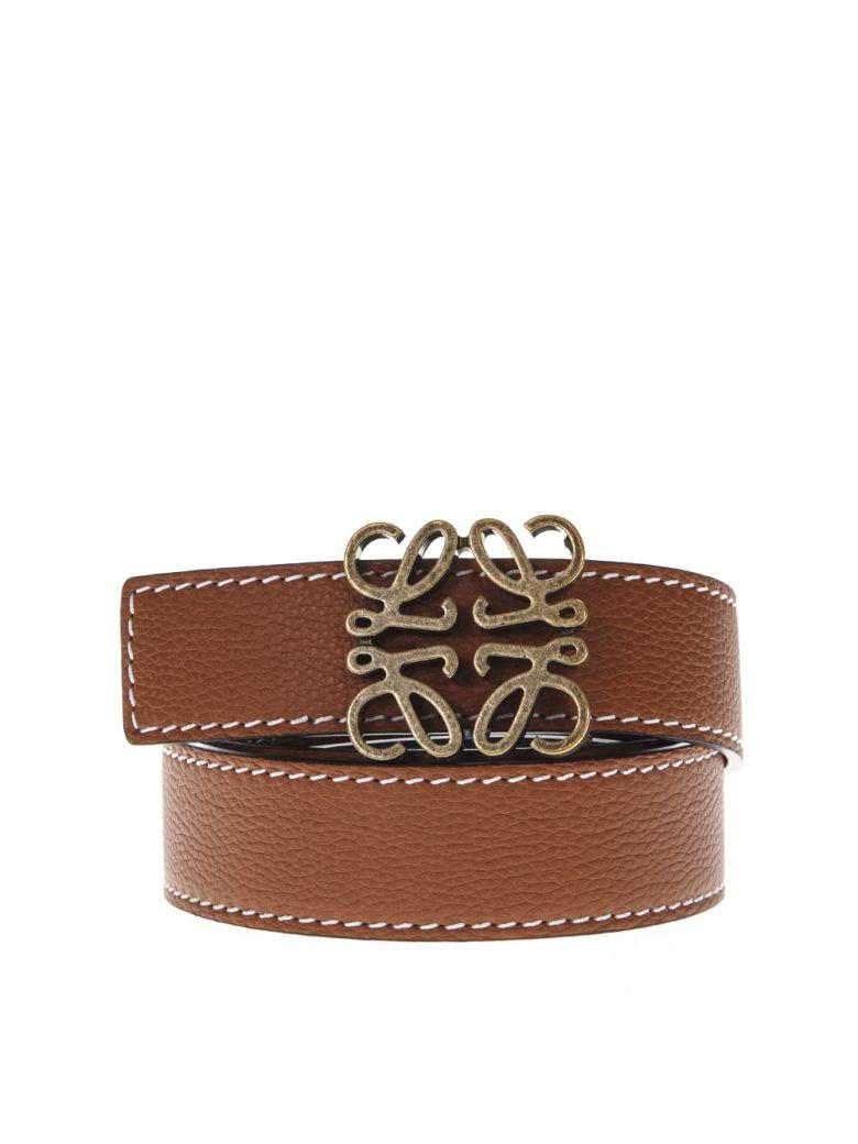 Loewe Tan Anagram Belt In Leather - Tan/black