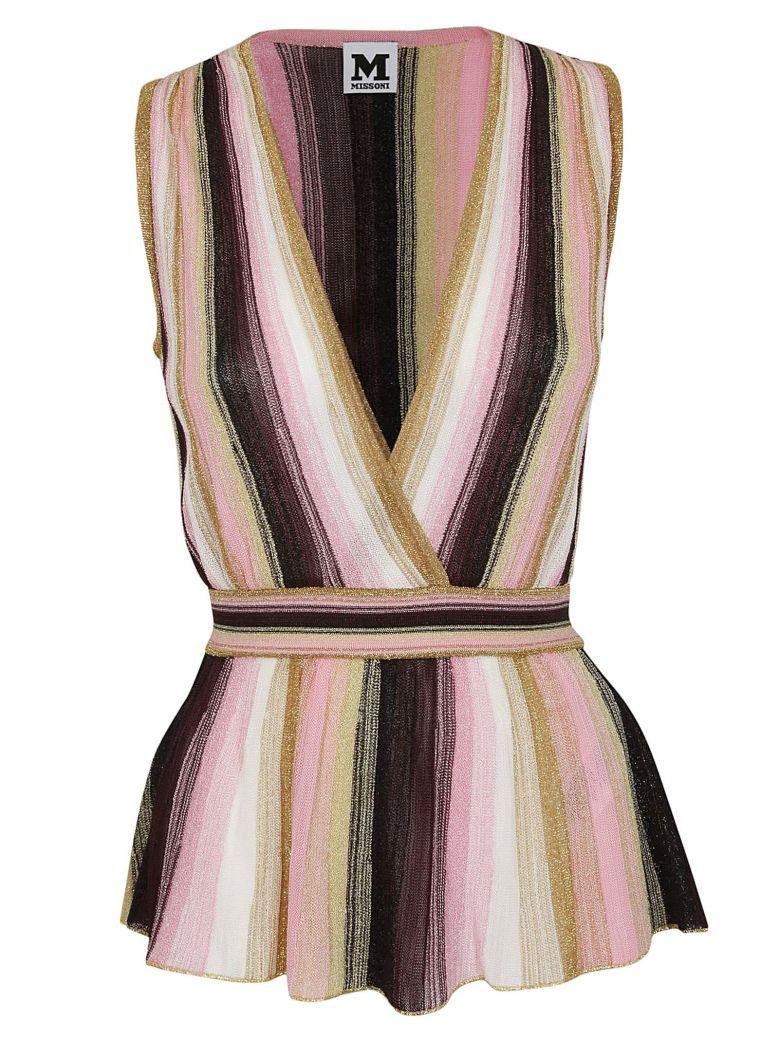 M Missoni V-neck Striped Top - Rosa/prugna/oro