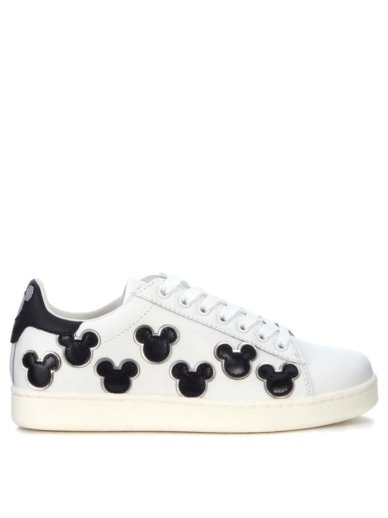 M.O.A. master of arts Sneaker Moa Mickey Mouse In Pelle Bianca E Nera - BIANCO