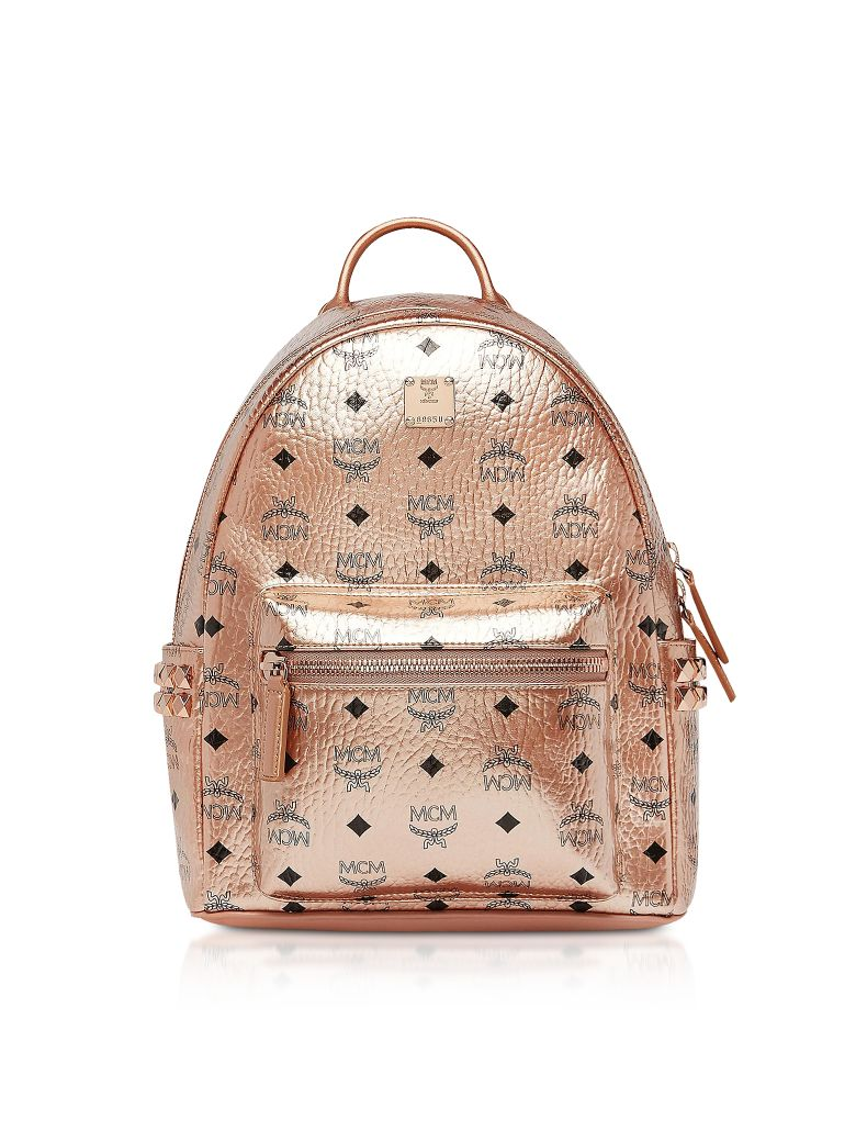 MCM Small Champagne Gold Visetos Stark Side Studs Backpack - Rose gold