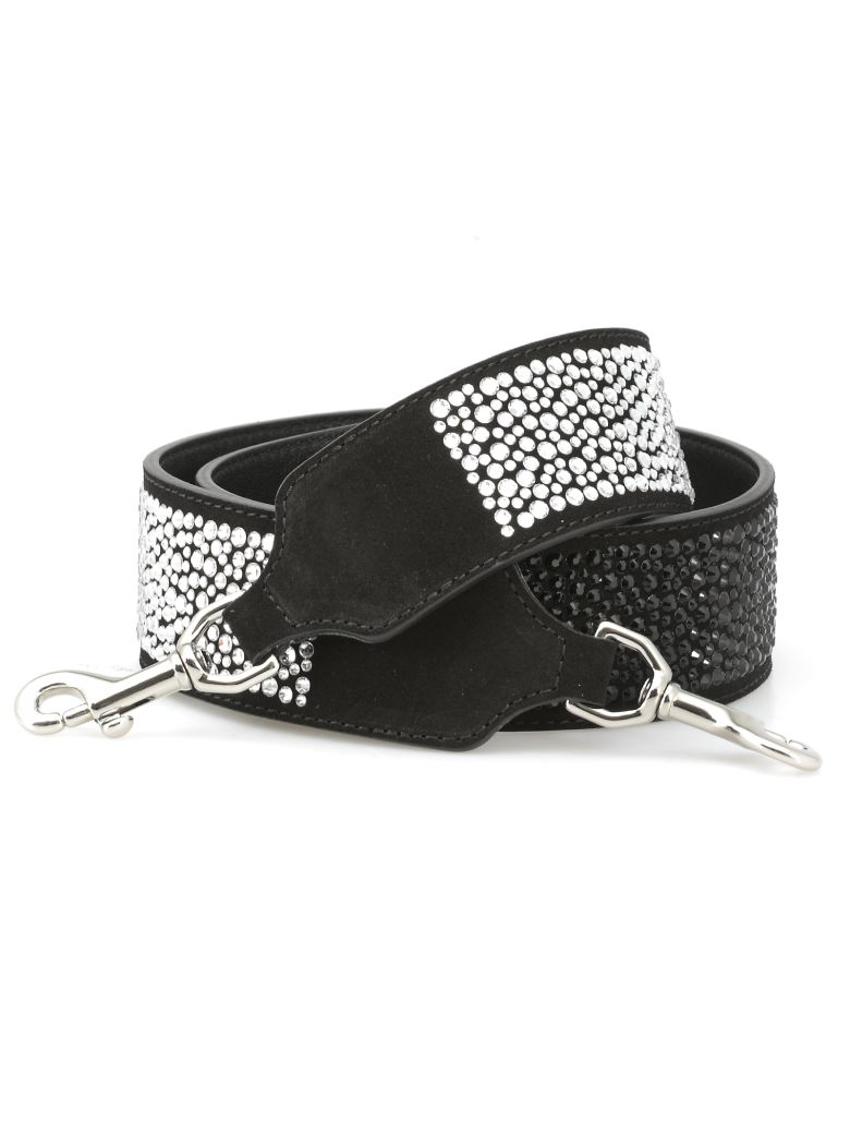 Kate Cate Shiny Fall Shoulder Strap - BLACK