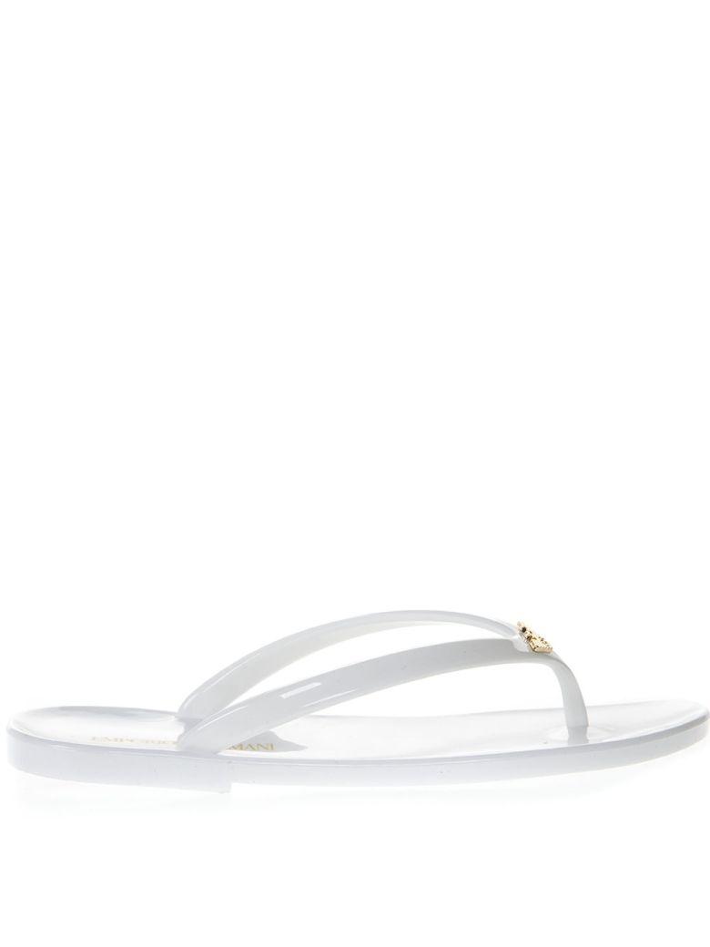 Emporio Armani White Rubber Sandals - White