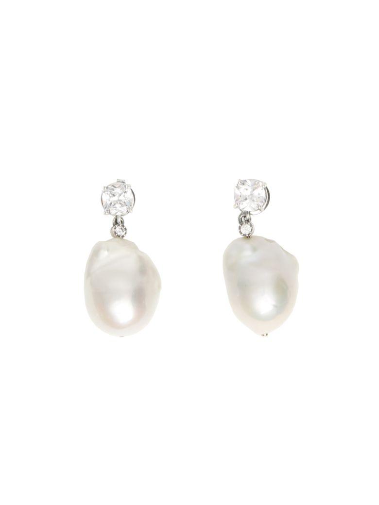 Bottega Veneta Zirconia And Pearl Earrings - NATURALE (White)