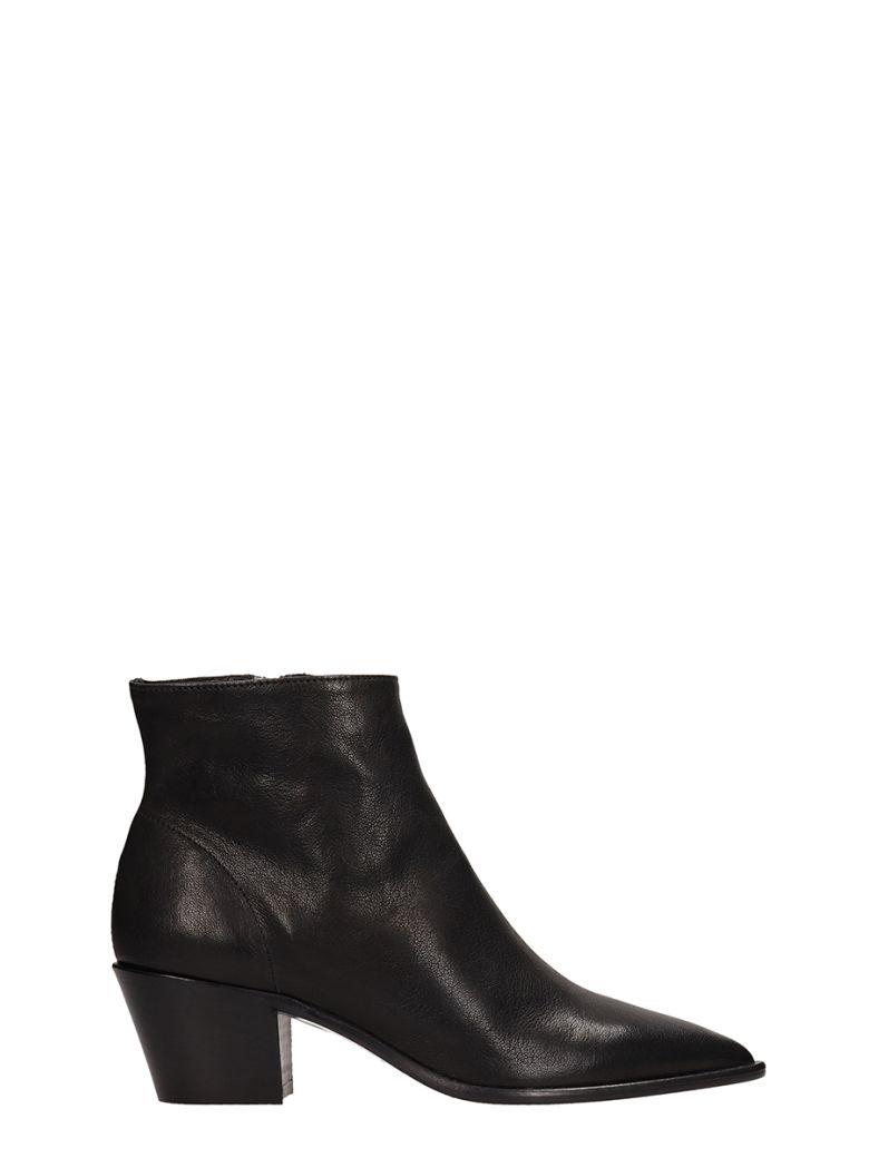 Julie Dee Black Calf Leather Ankle Boots - Black